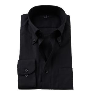 ワイシャツ メンズ 長袖 スリム ブラック 黒 ドゥエボットーニ ボタンダウン 綿100% Yシャツ ビジネスシャツ ドレスシャツ 大きいサイズ おしゃれ|ozie