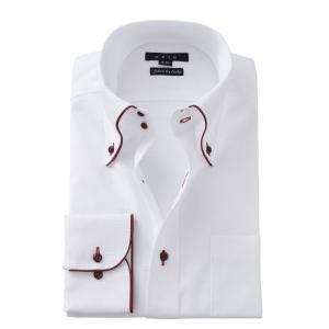 ワイシャツ メンズ 長袖 スリム ホワイト 白 ドゥエボットーニ ボタンダウン 綿100% Yシャツ ビジネスシャツ ドレスシャツ 大きいサイズ おしゃれ ozie