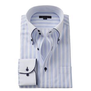 ワイシャツ メンズ 長袖 ブルー 青 スリム ドゥエボットーニ ボタンダウン クレリックシャツ 綿100% Yシャツ ビジネスシャツ ドレスシャツ おしゃれ ozie