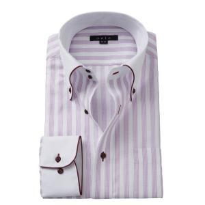 ワイシャツ メンズ 長袖 パープル 紫 スリム ドゥエボットーニ ボタンダウン クレリックシャツ 綿100% Yシャツ ビジネスシャツ ドレスシャツ おしゃれ ozie