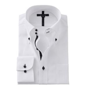 ワイシャツ メンズ 長袖 スリム ホワイト 白 ドゥエボットーニ ボタンダウン 綿100% プレミアムコットン ドレスシャツ おしゃれ カッターシャツ 大きいサイズ ozie