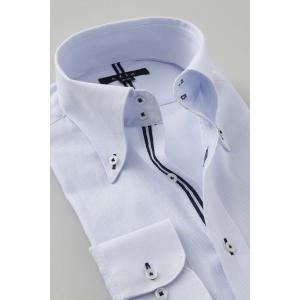 ワイシャツ メンズ 長袖 スリム ブルー 青 ドゥエボットーニ ボタンダウン 綿100% プレミアムコットン ドレスシャツ おしゃれ カッターシャツ 大きいサイズ ozie