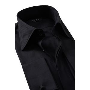 メンズ ドレスシャツ ワイシャツ スリム  比翼仕立て 黒シャツ ブラック ドゥエボットーニ ワイドカラー ダブルカフス ポケット無し ビジネスシャツ おしゃれ|ozie