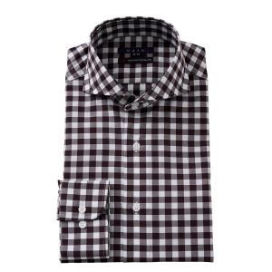 ホリゾンタルカラー ワイシャツ スリム 綿100% カッタウェイ メンズ 長袖 ビジネスシャツ プレミアムコットン 120番手 3L 4L おしゃれ ブラウン|ozie