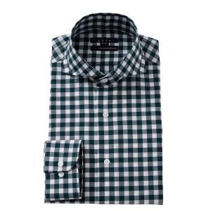 ホリゾンタルカラー ワイシャツ スリム 綿100% カッタウェイ メンズ 長袖 ビジネスシャツ プレミアムコットン 120番手 3L 4L おしゃれ グリーン|ozie