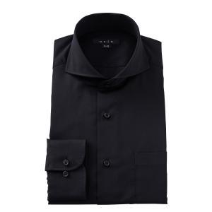 ホリゾンタルカラー ワイシャツ スリム ブラック 黒 綿100% カッタウェイ メンズ 長袖 ビジネスシャツ 無地 プレミアムコットン ドレスシャツ 3L 4L|ozie