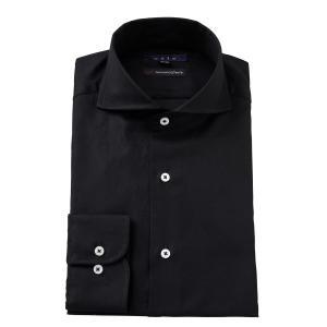 ホリゾンタルカラー ワイシャツ スリム ブラック 黒 綿100% カッタウェイ メンズ 長袖 ビジネスシャツ ストライプ ドレスシャツ 大きいサイズ おしゃれ|ozie