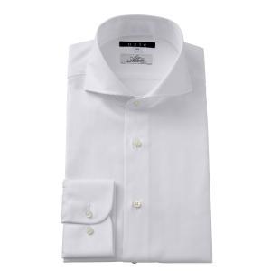 ホリゾンタルカラー ワイシャツ スリム ホワイト 白 カッタウェイ メンズ 長袖 プレミアムコットン ポケット無し ドレスシャツ ビジネスシャツ おしゃれ|ozie