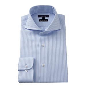 ワイシャツ メンズ 長袖 ホリゾンタルカラー スリム サックス ブルー 青 イタリア製生地 ビジネスシャツ ドレスシャツ 大きいサイズ おしゃれ ozie