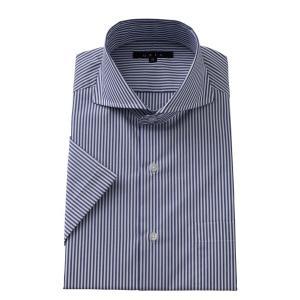 ワイシャツ メンズ 半袖 スリム ネイビー 紺 ホリゾンタルカラー カッタウェイ クールマックス 形態安定 ドレスシャツ ビジネスシャツ Yシャツ おしゃれ|ozie