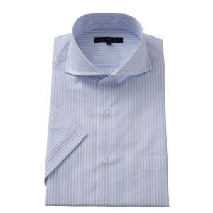 ワイシャツ メンズ 半袖 スリム ブルー 青 ホリゾンタルカラー カッタウェイ クールマックス 形態安定 ドレスシャツ ビジネスシャツ Yシャツ おしゃれ|ozie