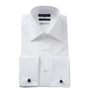 ダブルカフス ワイシャツ ワイドカラー メンズ 長袖 ホワイト 白 綿100% 120番手双糸 プレミアムコットン イタリア製生地 日本製 ポケット無し|ozie