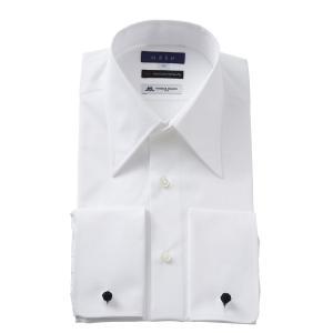 ダブルカフス ワイシャツ レギュラーカラー メンズ 長袖 ホワイト 白 綿100% 120番手双糸 プレミアムコットン イタリア製生地 日本製 ポケット無し|ozie