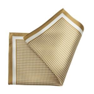 ポケットチーフ・シルク100%・ゴールド・千鳥格子・日本製 オジエ ozie|ozie
