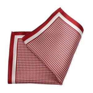ポケットチーフ・シルク100%・レッド・赤・千鳥格子・日本製 オジエ ozie|ozie