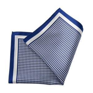ポケットチーフ・シルク100%・ブルー・青・千鳥格子・日本製 オジエ ozie|ozie