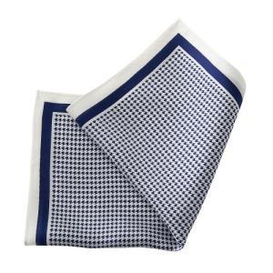 ポケットチーフ・シルク100%・ネイビーブルー・紺青・千鳥格子・日本製 オジエ ozie|ozie