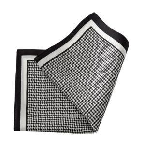 ポケットチーフ・シルク100%・ブラック・黒・千鳥格子・日本製 オジエ ozie|ozie