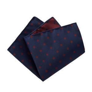 ポケットチーフ メンズ リバーシブル ドット シルク100% 日本製 国産 ネイビー 紺 ワインレッド 赤 おしゃれ オジエ ozie|ozie