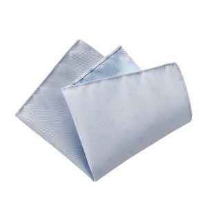 ポケットチーフ メンズ リバーシブル ドット シルク100% 日本製 国産 ブルー 青 シルバー おしゃれ オジエ ozie|ozie