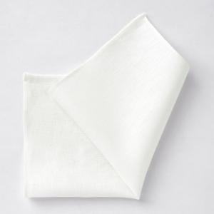 ポケットチーフ・麻リネン100%・アイリッシュリネン・ホワイト・無地 オジエ ozie|ozie