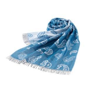 ストール メンズ レディース 春 ビスコース コットン 綿 薄手 イタリア製 フリンジ ペイズリー シンプル ブルー 青 おしゃれ ギフト プレゼント オジエ ozie ozie