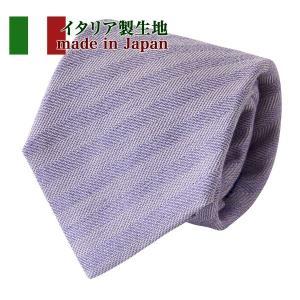 ネクタイ イタリア製生地 織柄無地 パープル 日本製 おしゃれ 綿麻シルク混 ギフト プレゼント オジエ ozie|ozie