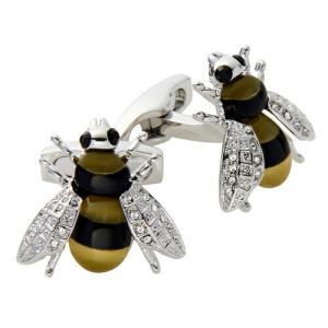 カフリンクス カフスボタン サイモンカーター イギリス製  Darwin Bee ミツバチ型 キャッツアイ オニキス スワロフスキー ブラックxクリスタル オジエ ozie|ozie