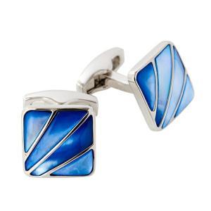 カフリンクス カフスボタン サイモンカーター  イギリス製 スクエア SIMON CATER Deco Fan Blue Mother Of Pearl オジエ ozie|ozie
