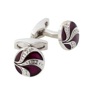 カフリンクス カフスボタン サイモンカーター  イギリス製 ラウンド SIMON CATER Art Deco Enamel Purple Button|ozie