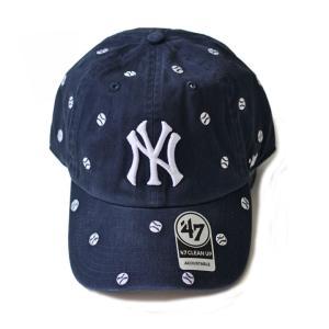 47Brand(フォーティーセブン) ヤンキース ドット刺繍 カーブキャップ 紺 メジャーリーグMLB ローキャップ 帽子 男女兼用|ozshop