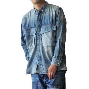 AOZORA BIGシャツ USED加工ハードダメージ インディゴ No.794001 ozshop