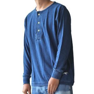 AOZORA BLUE HEAVEN (アオゾラブルーヘブン) インディゴ鹿の子ヘンリーネック長袖Tシャツ インディゴ中濃 No.722605 ozshop