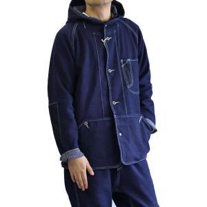 AOZORA(アオゾラブルーヘブン) 刺し子デニム フードブルゾン ジャケット インディゴ No.730101 ozshop