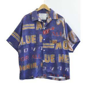 AOZORA(アオゾラブルーヘブン) アドバダイジング柄 開襟 オープンシャツ アロハシャツ No.732502 ozshop
