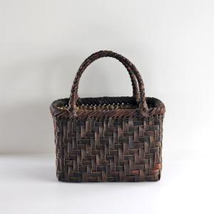 沢胡桃のかごバッグ『網代編み 裏皮 』 26cm幅 手提げ籠 国産(岩手県産)|ozshop