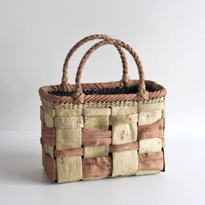 沢胡桃×山葡萄のかごバッグ『フト編み 市松 』 27cm幅 手提げ籠 国産(岩手県産)|ozshop