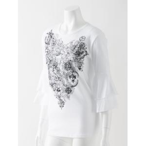 薔薇プリント入りフレア袖Tシャツ|ozzonjapan