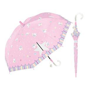 ゆめかわユニコーン 長傘 55cm 子供傘 小学生 女の子 ワンタッチジャンプ ラメ入り持ち手 チャーム付 ピンク色の画像