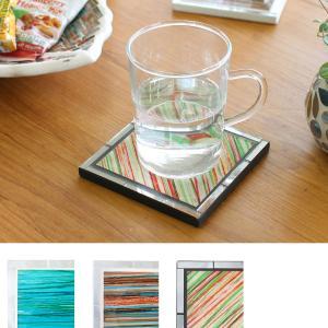 モザイク スクエア コースター キラキラ ガラス おしゃれ かわいい 小物置きに インテリアに グラス置きに 夏向 p-comfort
