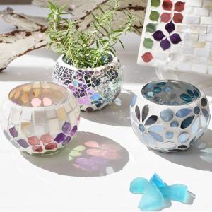 モザイクガラスホルダー ボール キャンドルホルダー フラワーベース 小物入れ プランター プランツ モザイク ガラス シェル 貝 インテリア 置き物 夏向 p-comfort