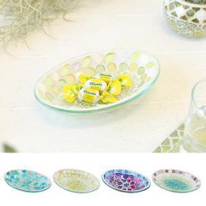 モザイクオーバルトレイ シェルフラワー 楕円形 小物入れ トレー 皿 アクセサリーケース テーブル おしゃれ かわいい インテリアトレイ 鉢植え 受け皿 夏向 p-comfort