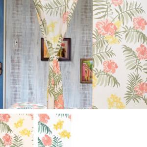 クリックポスト対応 のれん マカニ ハワイアン風 ハイビスカス 夏 おしゃれ カフェ タペストリー 85×150cm ホワイト ナチュラル 涼しい 夏向|p-comfort