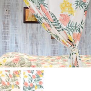 カーテン マカニ ハワイアン風 ハイビスカス 夏 おしゃれ  110×178cm ホワイト ナチュラル 涼しい 夏向|p-comfort