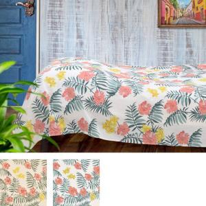 マルチカバー マカニ ハワイアン風 ハイビスカス 夏 おしゃれ  145×225cm マルチ クロス 汚れ 防止 ソファ ベッド ホワイト ナチュラル 夏向|p-comfort