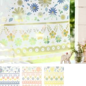 クリックポスト対応 カフェカーテン ポタリー  小花柄  透かし かわいい 小窓 出窓 目隠し  おしゃれ 45×105cm  インド製  ネイビー ピンク イエロー 夏向|p-comfort
