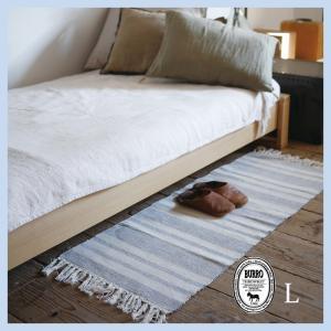 フロアーマット L 120×45cm 綿 100% コットン ラグ Burro ベージュ グレー ネイビー ストライプ 長方形 インド綿 綿 リビング 寝室 玄関マット 夏向|p-comfort