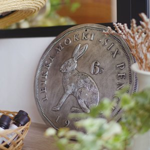 ステップストーン ラビット うさぎ アニマル rabbit  ガーデンプレート お庭 ガーデニング おしゃれ コイン DIY アンティーク|p-comfort