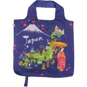 エコバッグ ブルー 買い物袋 バッグ  ショッピング  ギフト ショッピングバッグ 折りたたみ 和柄 舞妓 日本地図 送料無料 p-comfort