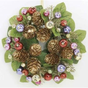 18cmリース ミニカラフルボール 『クリスマスリース クリスマスグッズ』 (16826)|p-kaneko